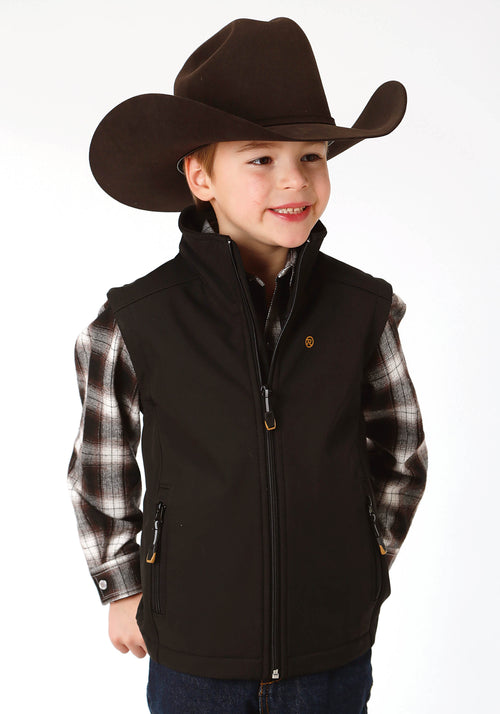ROPER BOYS BLACK 9429 BLACK W/BLACK FLEECE BACKING ROPER OUTERWEAR- BOYS VEST