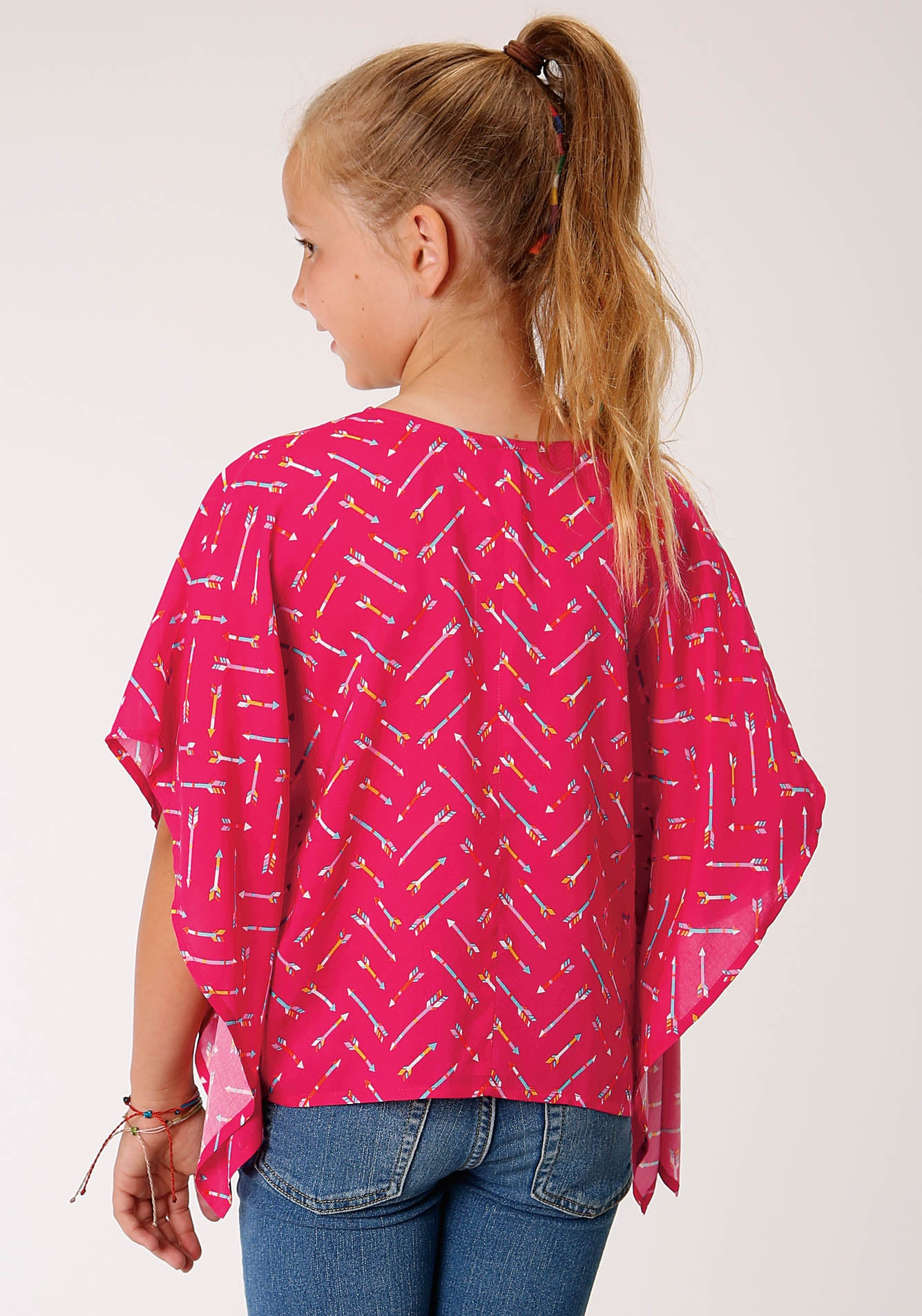 FIVE STAR GIRLS RED 00164 ARROW PRINT PONCHO SEASON 2 GROUP 1