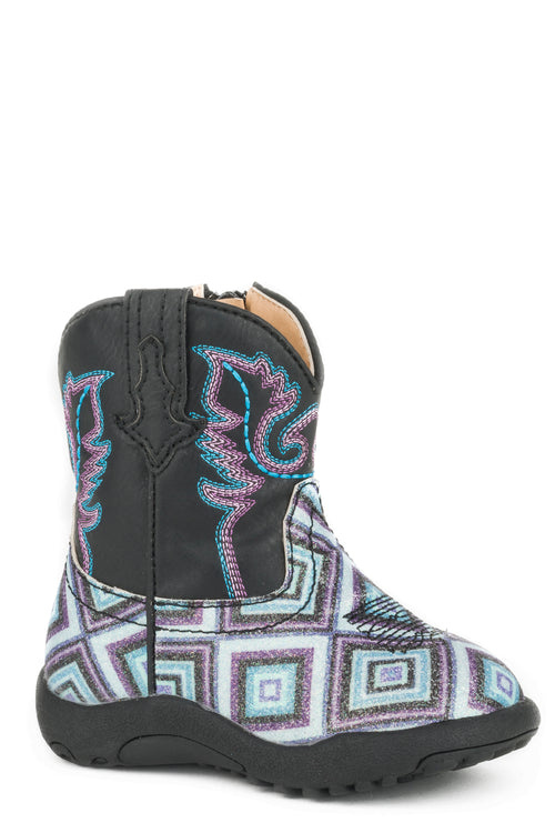 ROPER INFANTS BLACK GEOMETRIC GLITTER VAMP & BLACK SHAFT COWBABIES GLITTER DIAMONDS BOOT