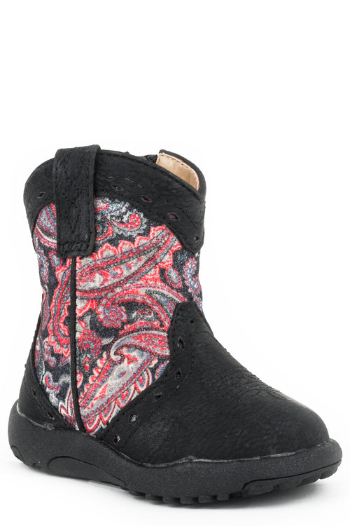 ROPER INFANTS BLACK TRIAD DESIGN BLACK VAMP PAISLEY SHAFT COWBABIES GLITTER GEO BOOTS