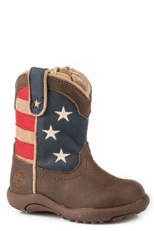 ROPER INFANTS BROWN BROWN VAMP COWBABIES AMERICAN PATRIOT BOOT
