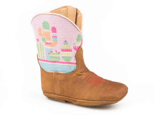 ROPER INFANTS BLUE SOFT BROWN LEATHER VAMP    ZIPPER SIDE COWBABIES COLORFUL CACTUS BOOTS