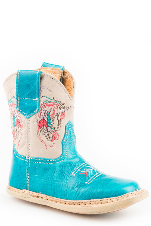 ROPER INFANTS BLUE TURQUOISE LEATHER VAMP AND TAN SHAFT COWBABIES UNICORN BOOTS