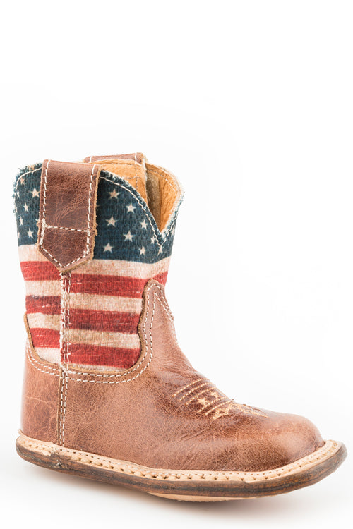 ROPER INFANTS BROWN BROWN LEATHER VAMP COWBABIES AMERICAN FLAG BOOTS