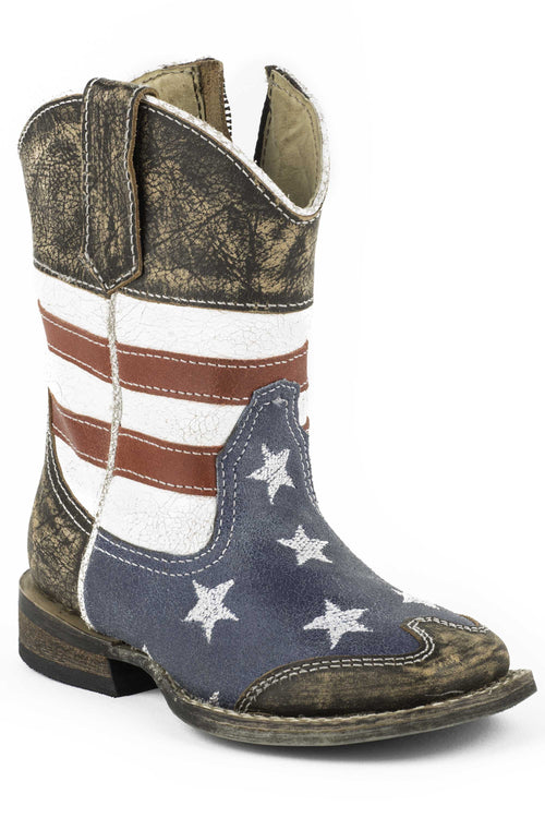 ROPER INFANT BLUE AMERICAN FLAG W/SANDED LEATHER/ SQ.TOE AMERICAN BOOT