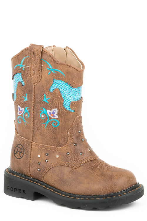 ROPER INFANT TAN ALL OVER TAN-SADDLE VAMP LITES & STUDS HORSE FLOWERS BOOTS
