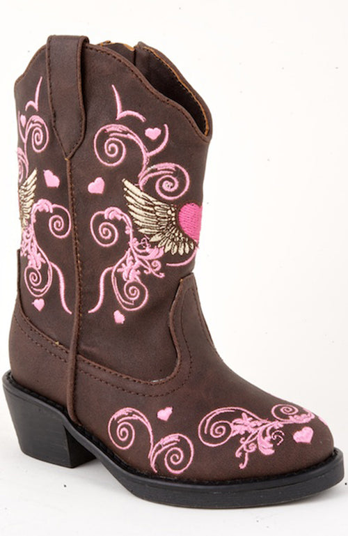 ROPER INFANT BROWN BROWN FASHION BOOT W/WINGED HEART FLYING HEART BOOTS