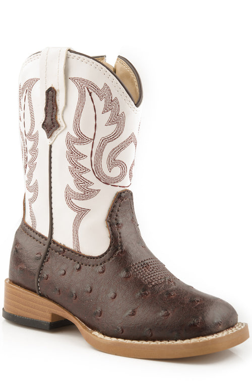 ROPER INFANT BROWN BROWN FAUX OSTRICH VAMP & WHITE SHAFT BUMPS BOOTS