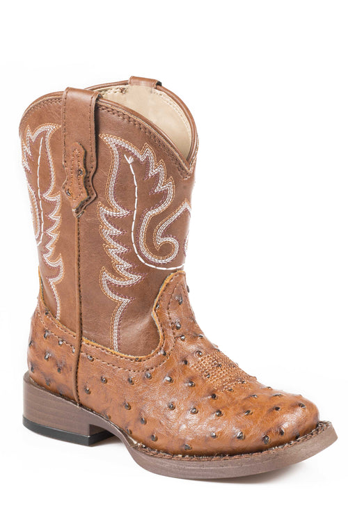 ROPER INFANT TAN TAN FAUX LEATHER OSTRICH PRINT VAMP BUMPS BOOTS