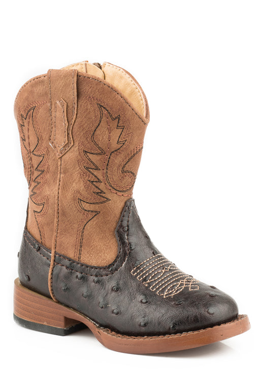 ROPER INFANT BROWN BROWN FAUX OSTRICH W/ TAN SHAFT COWBOY COOL BOOT