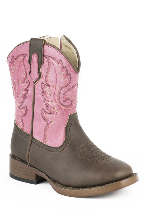 ROPER INFANT PINK BROWN/PINK FAUX LEATHER TEXSIS BOOTS