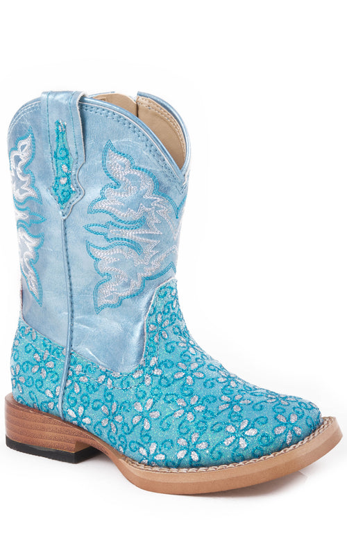 ROPER INFANT GREEN TURQUOISE FLORAL GLITTER VAMP WITH GLITTER SQUARE BOOT