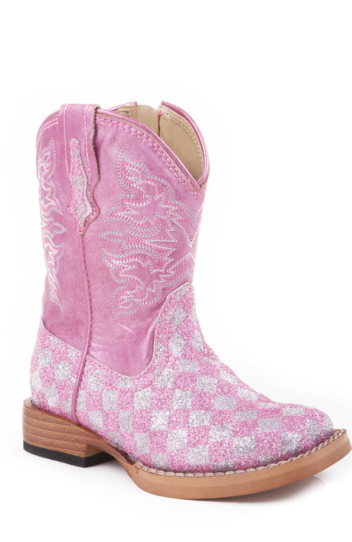 ROPER INFANT PINK PINK/SILVER CHECK GLITTER VAMP WITH GLITTER CHECK BOOT