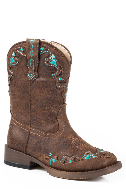 ROPER INFANT BROWN BROWN VINTAGE W/ TURQ EMB & CRYSTALS HEARTS BOOT