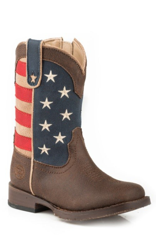 ROPER TODDLERS BROWN BROWN VAMP AMERICAN PATRIOT BOOT