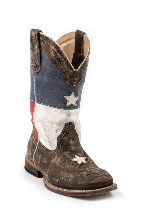 ROPER KIDS BLUE AMERICAN FLAG W/SANDED LEATHER/ SQ.TOE AMERICAN BOOT