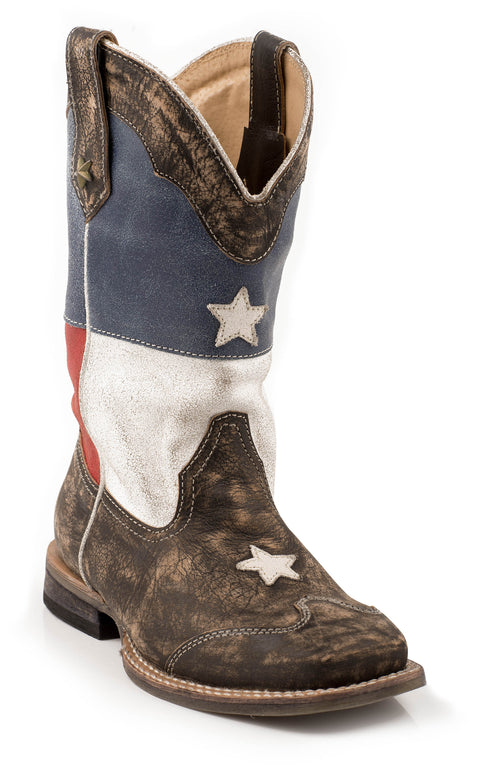ROPER KIDS BROWN TEXAS FLAG W/SANDED LEATHER/ SQ.TOE TEXAS STAR BOOT
