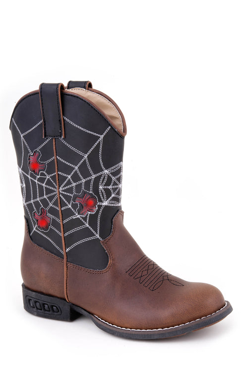 ROPER KIDS BROWN SPIDER ..BROWN VAMP / BLACK SHAFT SPIDER WEB BOOTS