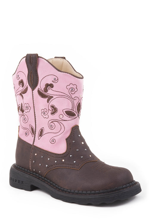 BOOT KIDS BROWN BROWN VAMP/PINK SHAFT SADDLE VAMP & WESTERN LIGHT MOTION ACTIVATED