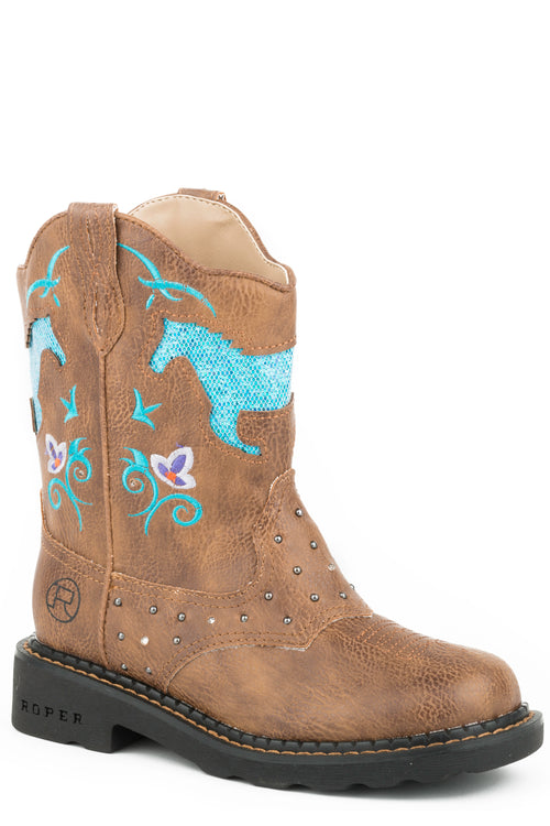 ROPER KIDS TAN ALL OVER TAN-SADDLE VAMP LITES & STUDS HORSE FLOWERS BOOTS