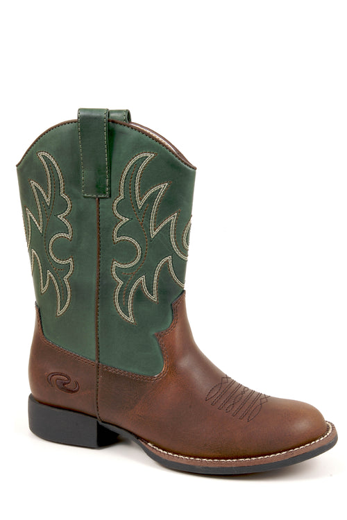 ROPER KIDS BROWN BROWN W/GREEN SHAFT FAUX LEATHER CODY BOOTS