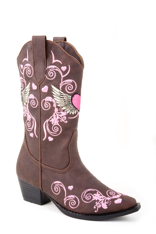 ROPER KIDS BROWN BROWN FASHION BOOT W/MULTI COLOR HEART FLYING HEART BOOTS