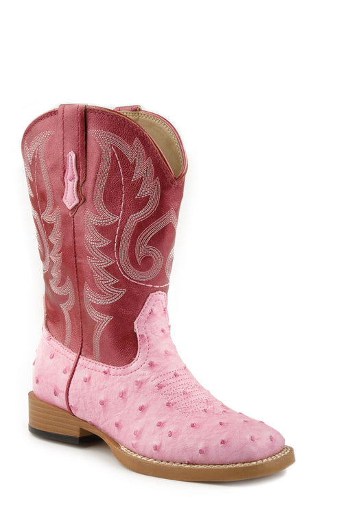 ROPER KIDS PINK SQ TOE BOOT WITH PINK FAUX LEATHER BUMPS BOOT