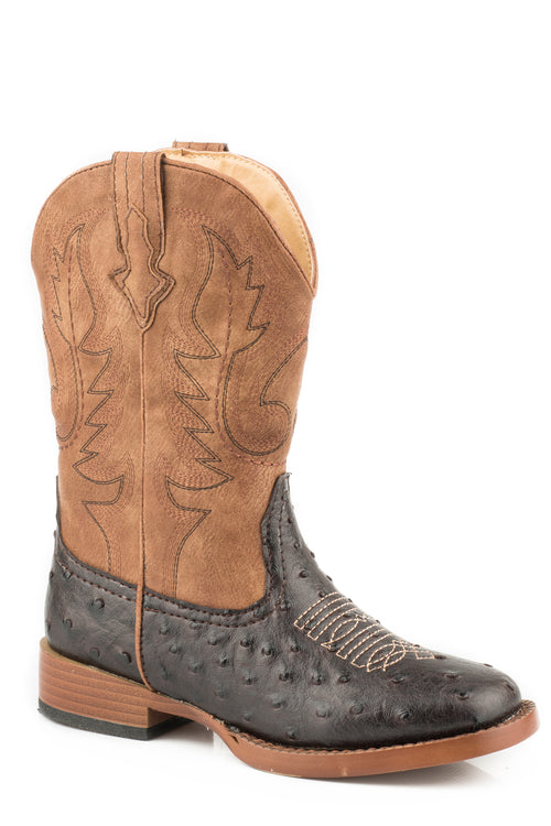 ROPER KIDS BROWN BROWN FAUX OSTRICH W/ TAN SHAFT COWBOY COOL BOOT
