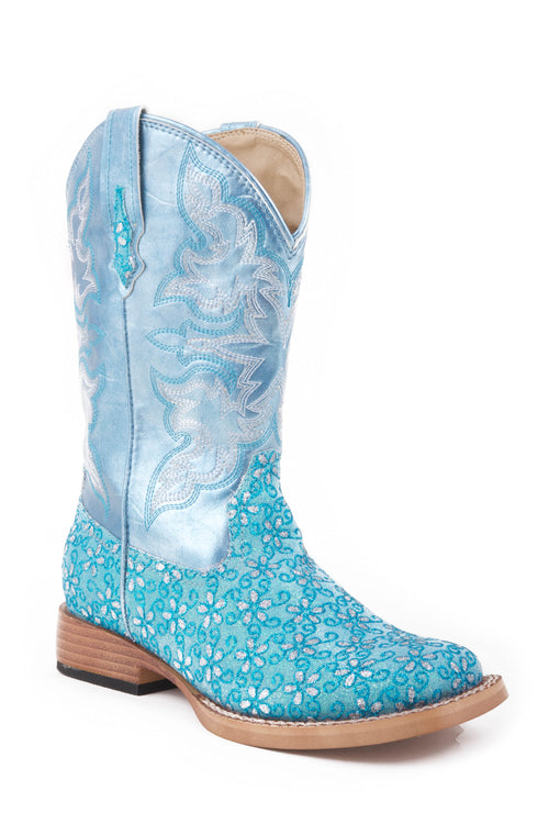 ROPER KIDS GREEN TURQUOISE FLORAL GLITTER VAMP WITH  T GLITTER FLOWER BOOT