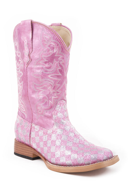 ROPER KIDS PINK PINK/SILVER CHECK GLITTER VAMP WITH GLITTER CHECK BOOT