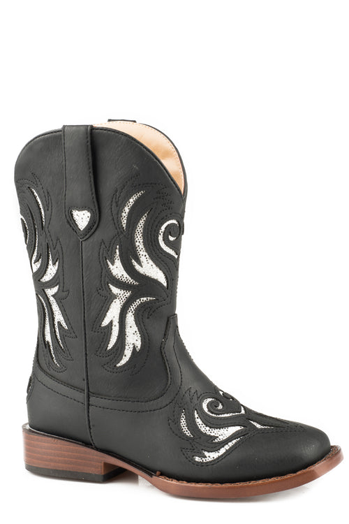 ROPER LITTLE KIDS BLACK BLACK VAMP & SHAFT GLITTER BREEZE BOOTS