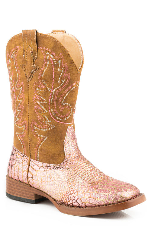 ROPER KIDS PINK PINK/GOLD GLITTER VAMP W/ BROWN SHAFT GLITZ BOOT