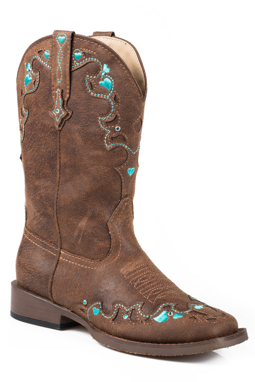 ROPER KIDS BROWN BROWN VINTAGE W/ TURQ EMB & CRYSTALS HEARTS BOOT