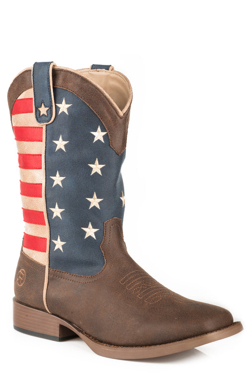 ROPER LITTLE KIDS BROWN BROWN VAMP AMERICAN PATRIOT BOOT