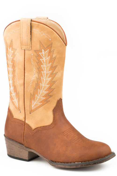 ROPER LITTLE KIDS TAN COGNAC VAMP WITH WHEAT SHAFT TAYLOR BOOTS