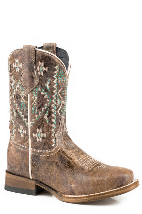 ROPER LITTLE KIDS BROWN WAXY BROWN LEATHER OUT WEST BOOT