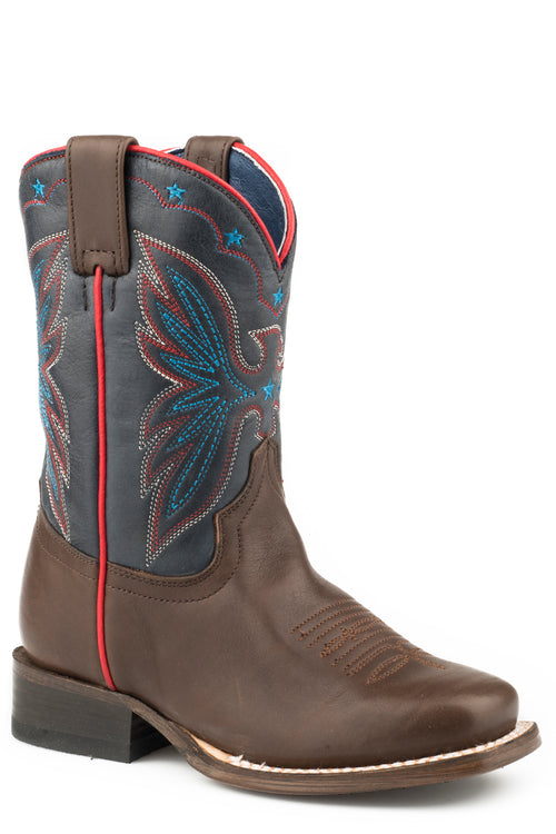 ROPER LITTLE KIDS BROWN BROWN VAMP & BLUE SHAFT FINN BOOTS