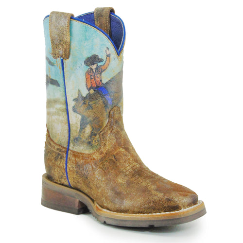 ROPER LITTLE KIDS TAN DISTRESSED BROWN LEATHER VAMP BUCKING BRAHMA GEO BOOTS
