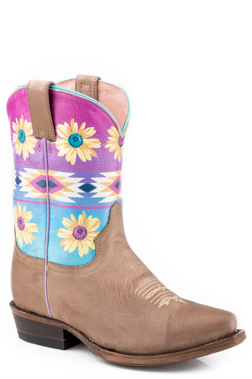 ROPER LITTLE KIDS TAN WAXY TAN LEATHER VAMP DAISIES BOOTS