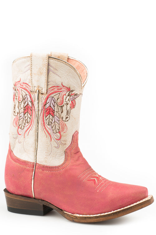 ROPER LITTLE KIDS PINK VINTAGE PINK LEATHER VAMP UNICORN SNIP BOOTS