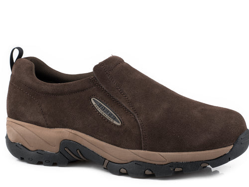 ROPER MENS BROWN BROWN SUEDE LEATHER SLIP ON AIR LIGHT SHOES