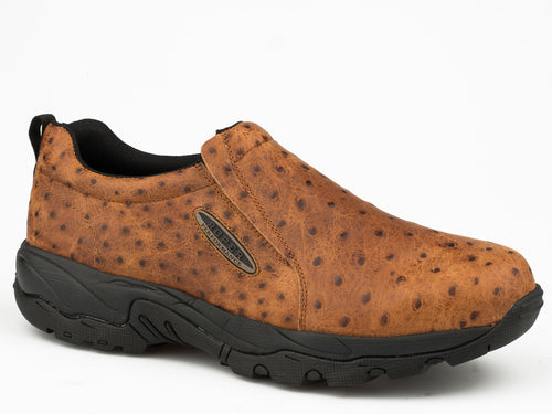 ROPER MENS TAN TAN FAUX OSTRICH LEATHER SLIP ON AIR LIGHT SHOES
