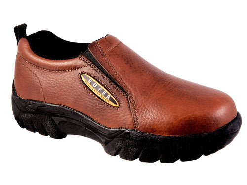 ROPER MENS BROWN BAY BROWN TUMBLED LEATHER PERFORMANCE SLIP ON SHOES