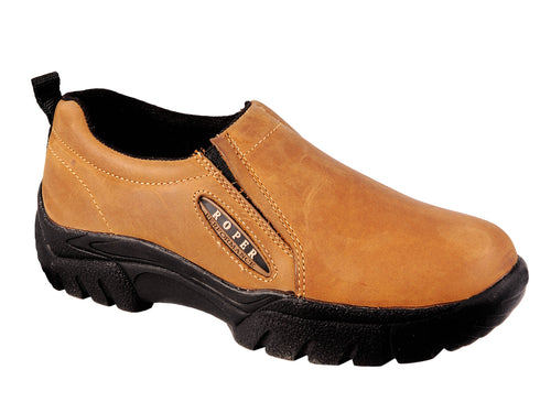 ROPER MENS BROWN AMBER APACHE PERFORMANCE SLIP ON SHOES