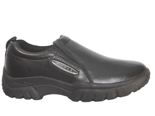 ROPER MENS BLACK SMOOTH BLACK TUMBLED PERFORMANCE SLIP ON SHOES