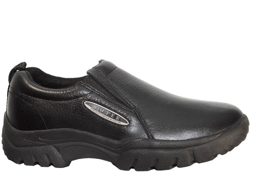 ROPER MENS BLACK SMOOTH BLACK TUMBLED LEATHER PERFORMANCE SLIP ON SHOES
