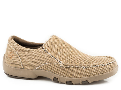 ROPER MENS TAN TAN WOVEN CANVAS SLIP-ON DRIVING MOCK JOHNNIE CASUAL