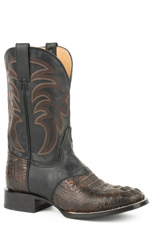 ROPER MENS BROWN BROWN CAIMAN W/BLACK SADDLE VAMP DEADWOOD BOOTS