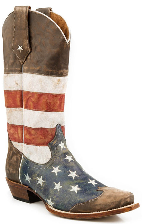 ROPER MENS BROWN AMERICAN FLAG - SNIP TOE BROWN TOE CAP AMERICA BOOT