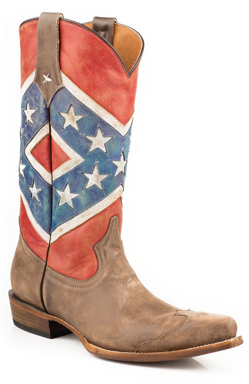 ROPER MENS BROWN REBEL FLAG-BROWN TOE CAP/  SNIP TOE HE'S A REBEL BOOT